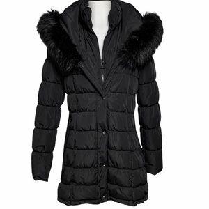 CALVIN KLEIN Faux Fur Hooded Black Winter Coat -M